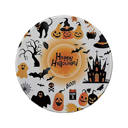 Rutschfreies Gummi-rundes Mauspad Halloween-Dekorationen All Hallows Day-Objekte Spukhaus-Eule und Süßes oder Saures-Bonbons Orange Schwarz 7.9
