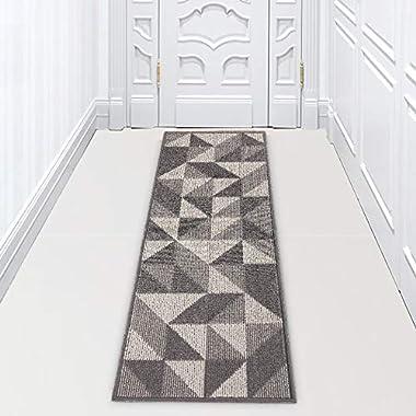 "Machine Washable Runner Rug Non Slip Kitchen Hallway Laundry Rugs for Entryway, 20""x59"", Grey"