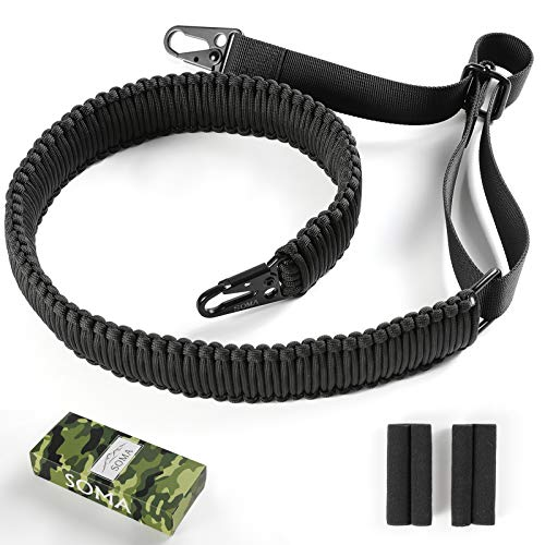 SOMA 2 Point Paracord Gun Sling with Metal Hooks Adjustable Rifle Sling for Hunting (Black)