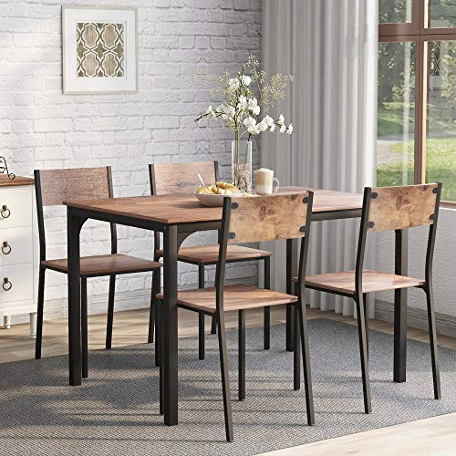 JIESD-Z Juego de mesa de comedor de 5 piezas, moderno de madera, mesa de comedor, rectangular, marco de metal, muebles para el hogar para comedor, comedor (marrón rústico)