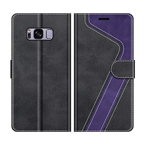 MOBESV Custodia Samsung Galaxy S8, Cover a Libro Samsung Galaxy S8, Custodia in Pelle Samsung Galaxy S8 Magnetica Cover per Samsung Galaxy S8, Nero/Viola