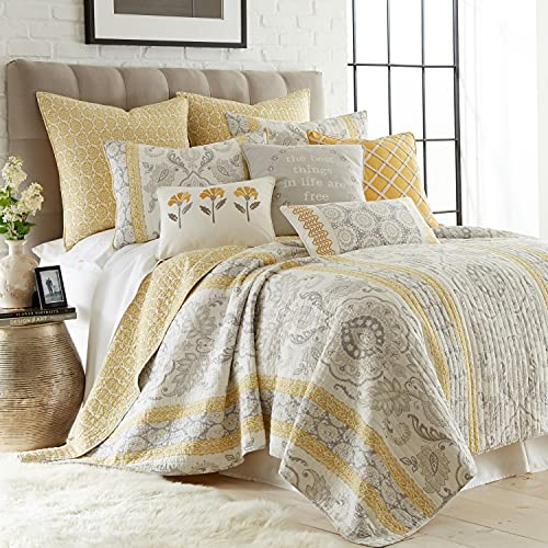 Levtex home - St. Claire Quilt Set - Twin Quilt + One Standard Pillow Sham - Suzani and Paisleys - Grey and Yellow - Quilt Size (68x86in.) and Pillow Sham Size (26x20in.) - Reversible - Cotton Fabric