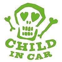 imoninn CHILD in car ステッカー 【パッケージ版】 No.31 ガイコツさん (黄緑色)