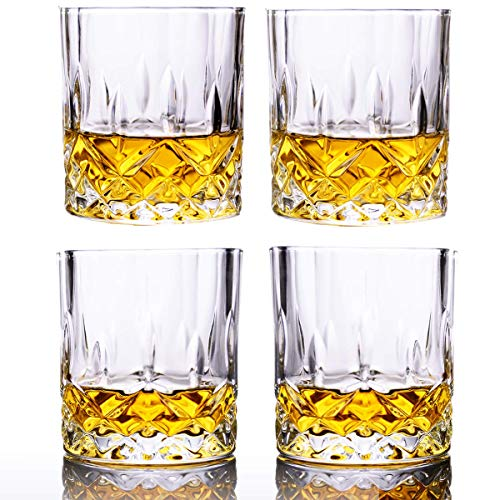 Whiskey Glasses Set of 4 11.5-ounce Stylish Old Fashion Rocks Tumblers Lead-free Glassware for Scotch Bourbon Cognac Brandy Cocktail