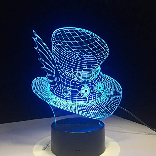 Jiushixw 3D acryl nachtlampje met afstandsbediening kleurverandering lamp Creative Cap Magic Hat kinderen slaapkamer nacht Marokkaanse bureaulamp