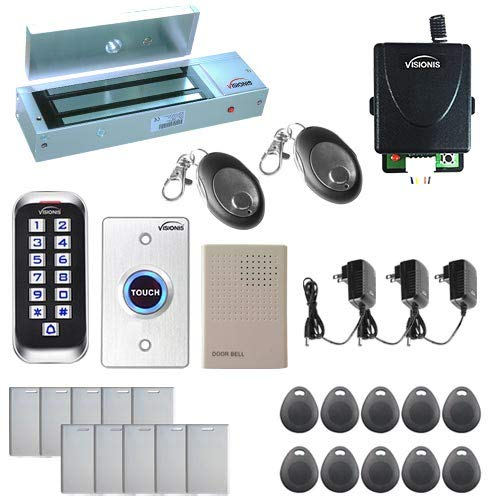Visionis FPC-5656 One Door Access Control System Outswing Door 1200lbs Magnetic Lock with VIS-3005 Slim Outdoor IP68 RFID Keypad Entry Security with Wireless Remote EM Standalone 2000 Users Kit