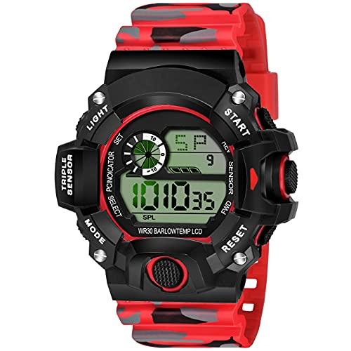 SWADESI STUFF Digital Boy's Watch (Black Dial, Red Colored Strap)