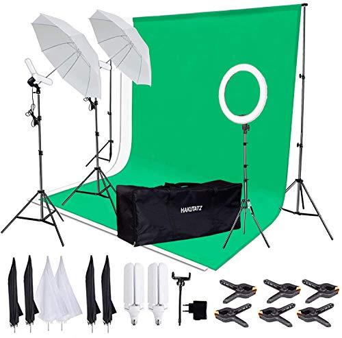 """Photo Studio Kit 2M x 3M / 6.56ft x 9.84ft éclairage LED avec arrière-Plan Stand système Backdrop Soutien Couleurs Vertes et Blanches Dont 12"""" Light Ring et 2X Lampes avec des parapluies et Housse"""