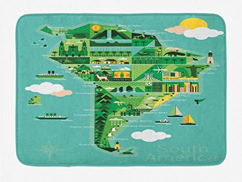 Soefipok Argentinien-Badematte, Südamerika-Karte mit Sehenswürdigkeiten Monumente und Attraktionen müssen Orte besuchen, Plüsch-Badezimmer-Dekormatte mit Rutschfester Unterlage