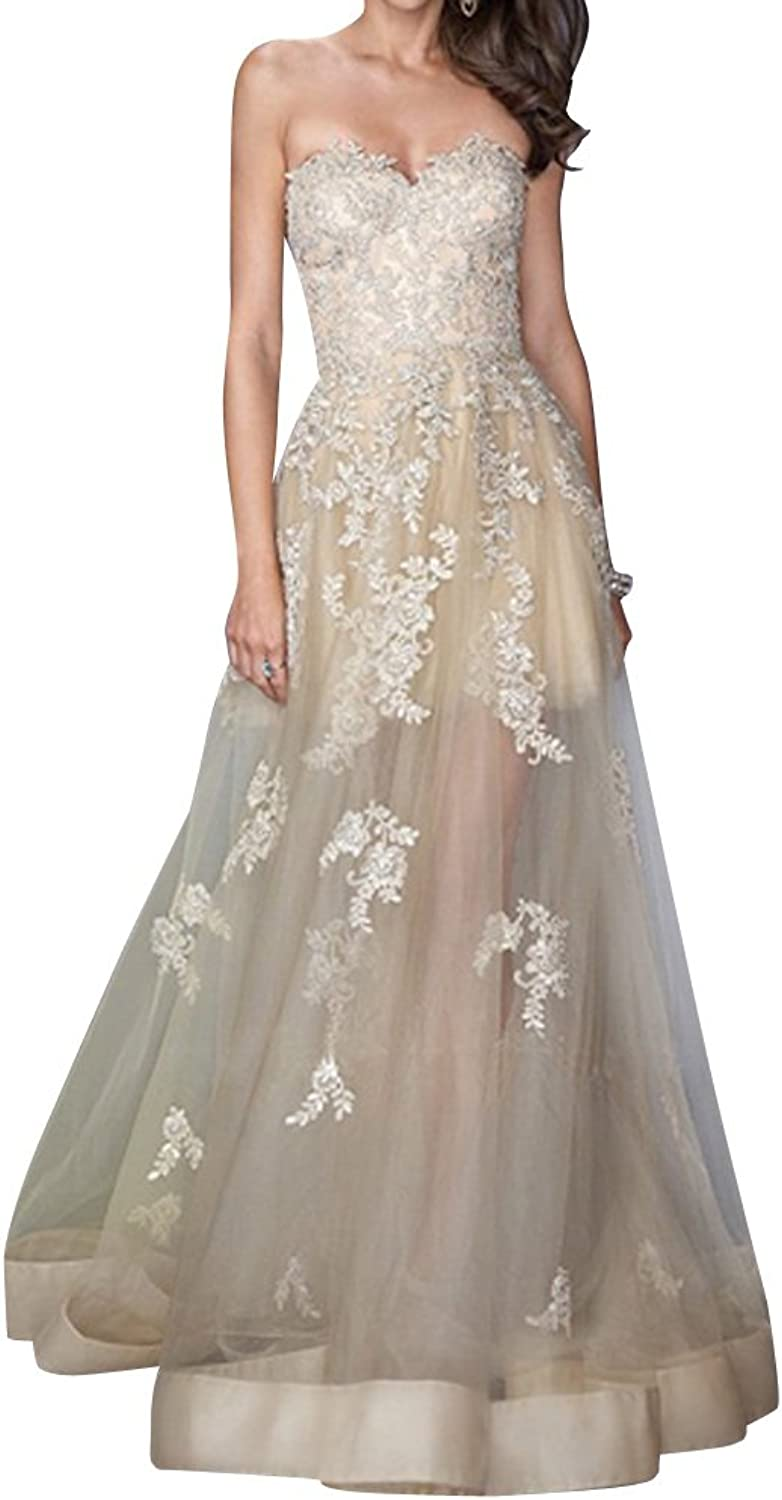 Dasior Women's Appliqued Sweetheart Tulle Long Prom Wedding Dress Lace Up