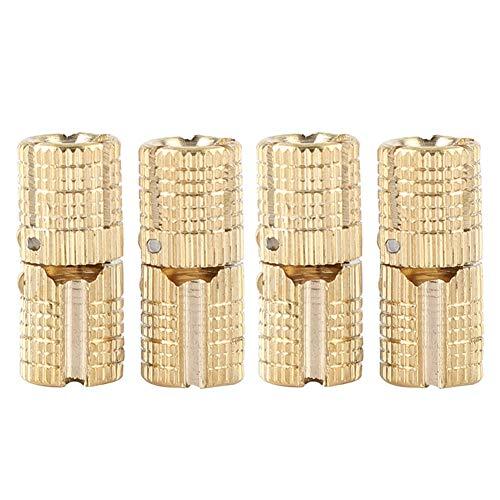 4 piezas/paquete de latón oculto - Bisagra barril Bisagra de cobre oculta invisible Gabinete muebles Bisagras para DIY Puerta de madera Cajas de regalo Caja de joyería Artesanía Mano Oro, 180 ° de a