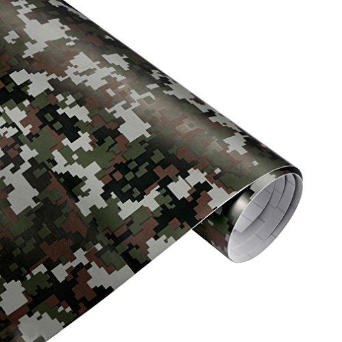 QEUhang 2 PCS Camouflage Autofolie Sticker Tarnfolie 152 X 30CM Selbstklebend Car Wrapping Auto Folie - Woodland Digital Camouflage