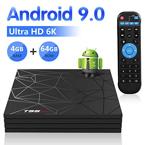 Android TV Box,T95 MAX Android 9.0 TV Box 4GB RAM/64GB ROM H6 Quad-Core Support 2.4Ghz WiFi 6K HDMI DLNA 3D Smart TV Box