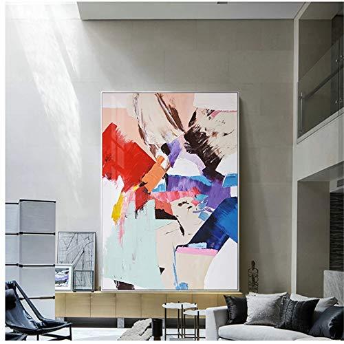 Pintura abstracta en lienzo de colores cálidos, carteles azules y rojos, impresiones de alta calidad, imágenes artísticas de pared para la sala de estar, decoración nórdica de moda, 70x120cm (28x48in)