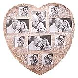 Invero®: gran marco mural en forma de corazón para 10 fotos, de aspecto natural y rústico, vintage; forma ideal para...