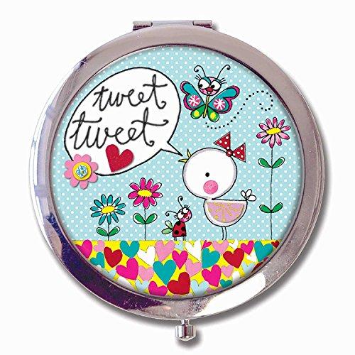 Rachel Ellen geschenkdoos boxed zakspiegel Compact Mirror - 'Tweet Tweet' Vogel Bird