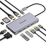 QGeeM USB C ハブ,USB type C HDMI ドッキングステーション,デュアル4KのUSB Cドッキングステーション,1080P VGAポート,100W PDポート,イーサネットポート,USB C to USB 3.0,sd/tfカードリーダーを備えたUSB Cドック,MacBook対応の12 in 1トリプルディスプレイ ハブ
