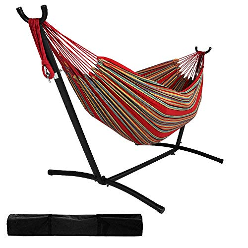 10 Ft Red Stripe Cotton Indoor Outdoor Double Hammock with Stand, Portable Carrying Bag, Space Saving Steel Frame, Deck Yard Pool Patio Furniture (450 lbs)