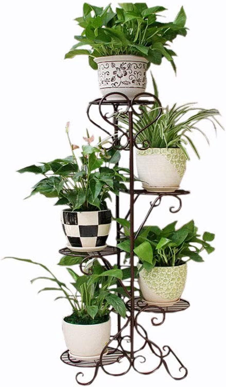 WYNZYHJ Plant Stand, Multi-Storey Indoor Special Balcony Wrought Iron Solid Wood Living Room Space Basin Floor Flower Stand (color   Brown)