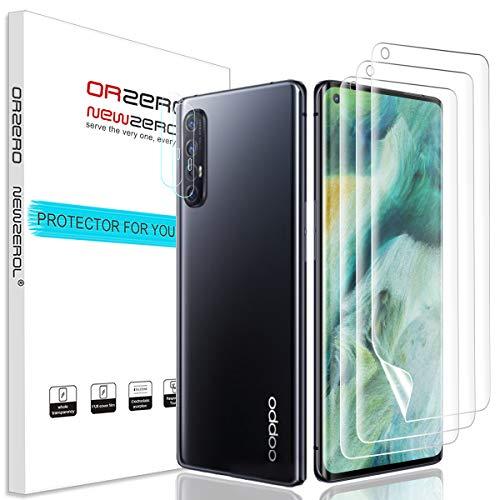 NEWZEROL 3 Stück Bildschirmschutzfolie + 2 Kameraschutz für Oppo Find X2 Neo [Unterstützung für Fingerabdruck-ID] Anti-Bubble TPU 3D[Vollabdeckung] Sanft Displayschutz