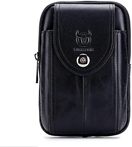 Conpush Echtleder Bauchtasche,Gürteltasche Handytasche Hüfttasche Geldbörse Geldbeutel Herren Ledertasche für iPhone X/8/7/6/S/Plus Samsung Galaxy S8/S7/S6 Note 8 Huawei HTC(Schwarz)