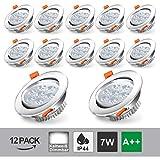 Hengda 12x 7W Foco Empotrable LED Techo Regulable Blanco Frio IP44 de techo de iluminació...