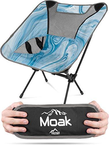 normani Ultraleichter Mini Campingstuhl MOAK 796 g! klappbarer Strandstuhl Anglerstuhl mit Aluminiumgestell - Stabiler Outdoorstuhl - Traglast: 135 Kg (330 lbs) Farbe Marble