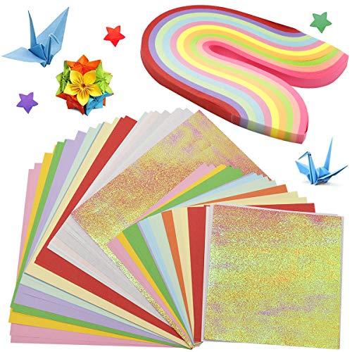 Color Kit Origami para Niños,Guador 80 Piezas Archivo de Origami Vívido de Doble Folded Square Origami Manualidades con 500 Piezas Papel Origami Star Lucky Star Tira DIY Proyectos de Artes