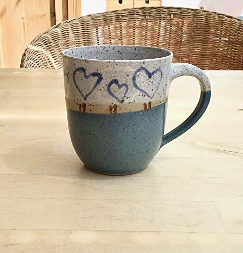Kaffeebecher, Tasse, ca. 250ml, Keramik,grün,weiß,bemalt, getöpfert