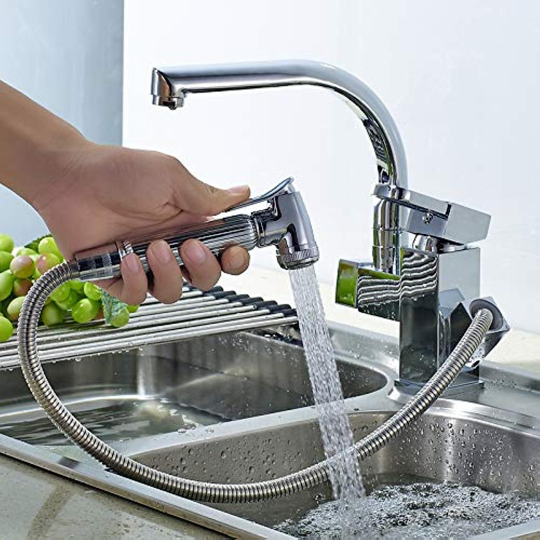 ZHAOSHOP Wasserhahn Bad Küche Pull-Typ Wasserhahn heie und kalte Spüle ausziehbares Kupfer Quadrat