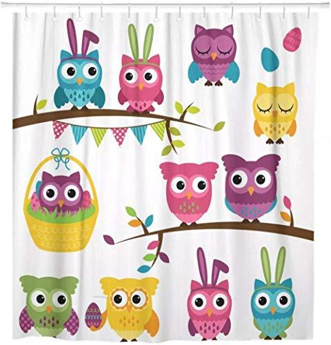 SYLZBHD Candy Collection Oster- & Frühlings-Eulen-Duschvorhang aus wasserdichtem Polyester-Stoff, 180 x 200 cm (B x H)