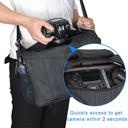 CADeN Kameratasche, Kamera Messenger umhängetasche, DSLR SLR Wasserabweisend Foto Tasche Diebstahlschutz Schutzhülle Kompatibel mit Nikon Canon Sony Spiegelreflex Stativ