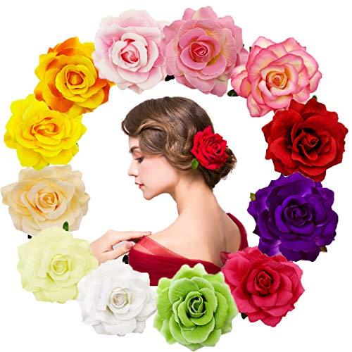 12 Stücke Rosen Blumen Haarnadel Haarblume Clip Blumen Pin Up Blumen Brosche für Tropische Party,Strand,Hochzeit Party Tropische Party,Strand,Hochzeit Party