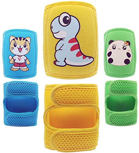 Baby Knee Pads for Crawling (3 Pairs), Adjustable Baby/Toddler Knee pads, Crawling Pads,Protective Knee Pads
