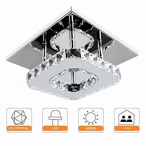 Lámpara de techo de cristal moderno, Beautihome Square Lámpara de techo de acero inoxidable para dormitorio, sala de estar y pasillo (8.3x8.3 pulgadas)