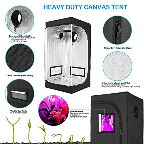 """Hydroponic Grow Tent Mylar Reflective Growing Tent 24""""x24""""x48"""" with Observation Window and Removable Floor Tray for Indoor Gardening Plant Growing"""