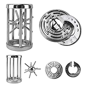 Katosca Two Pieces Classic Unlocking Toy Puzzle Cast Metal Brain Teaser Game  Level 6  Puzzles for Kids and Adults Ages 12 and Up  Labyrinth Lock&Cage Lock