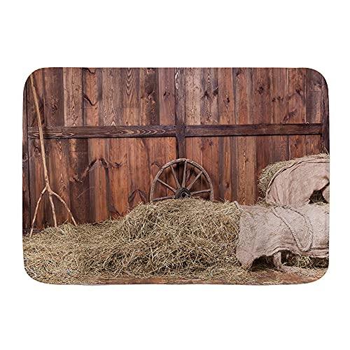 KASMILN Tapis de Bain,Rustic Hay Bale Wood Western Barn Background Thème Cowboy Vie Rurale,Tapis de Bain antidérapant hautement Absorbant