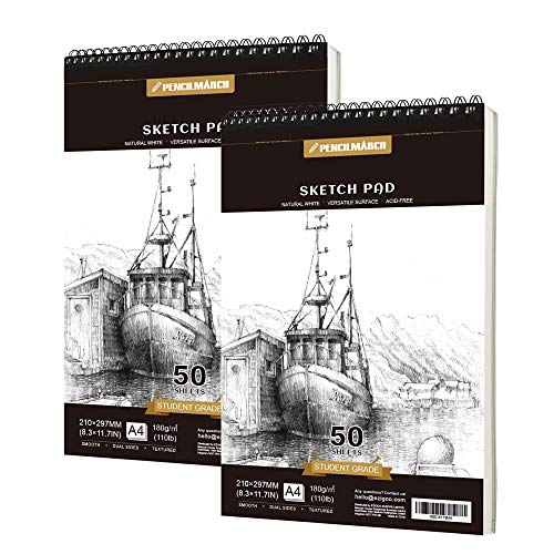 Pencilmarch Spiral Bound Sketch Pad – A4 180 GSM 50 Sheets*2. Sketch Paper For Artists. Ideal For The Studio, School Or At Home