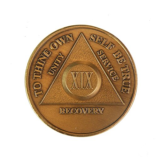 19 Year Bronze AA (Alcoholics Anonymous) - Sober / Sobriety / Birthday / Anniversary / Recovery / Medallion / Coin / Chip by Generic