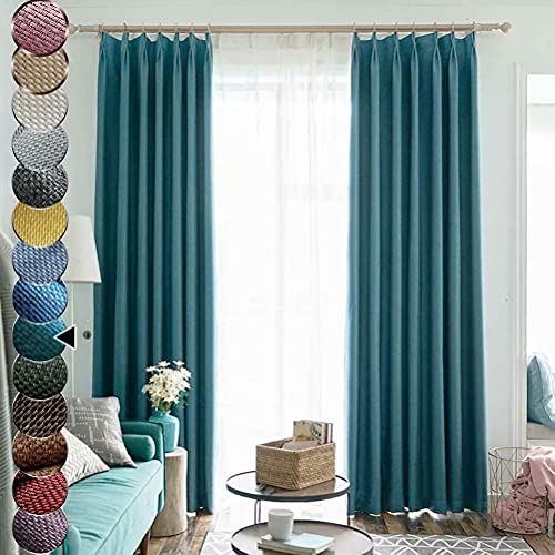 """MacoHome Crisscross Textured Linen Curtain 72 Inch by 102 Inch Turquoise Lined Blackout Curtains with Grommets, 72"""" x 102"""" x 1 Panel"""