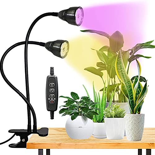 LED Grow Light for Indoor Plant, Gooseneck Dual Head Clip-on Plant Lights for Seedlings Succulents,Timer Function with 3 Modes & 10-Level Brightness