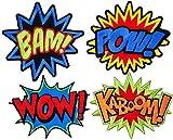 i-Patch - Patches - 0070 - Set - Wow - Bam - Kaboom - Pow - Stickerei - Applikation - Aufnäher - Sticker - Badge - Flicken - DIY - Emoji - Aufbügler - Bügelbild - Iron-on - Embleme -...