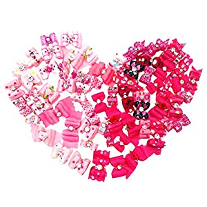 JpGdn 50Pcs/25Pairs Small Girl Dogs Hair Bow Ties Pink Puppy Hair Bows with Rubber Band for Doggies Cat Bunny Rabbit Yorkie Shih Tzu Hair Bowknot Grooming Accessories Attachment