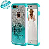 iPhone 8 Plus Case Bible Verse,iPhone 7 Plus Case,SKYFREE Christian Quotes Philippians 4:13 [Shock Absorption] Hybrid Dual Layer Heavy Duty Protective Case Cover for Apple iPhone 7 Plus /iPhone 8 Plus