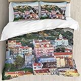 Ultraweicher Bettbezug,Schloss Sao Jorge in Lissabon, Portugal,Mikrofaser-gewaschene Bettdecke mit verstecktem Reißverschluss, für Ganzjahresbettwäsche 3er-Set (1 Bettbezug 78x78Zoll + 2 Kissenbezug)