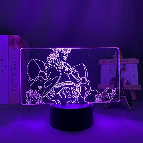 Lámpara De Ilusión 3D Luz De Noche LED Anime JoJo's Bizarre Adventure Dio Brando Decoración de dormitorio Mesita de noche Lámpara de mesa colorida Regalo para niños Regalo de cumpleaños