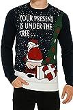 threadbare, maglione per adulti, con motivi natalizi e di babbo natale xmas parcel - deep navy blue taglia-l-107 cm- 112 cm petto