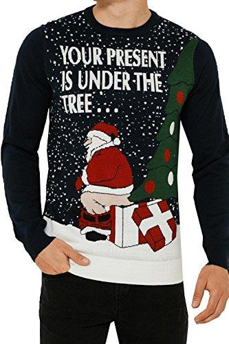 Threadbare, maglione per adulti, con motivi natalizi e di Babbo Natale Xmas Parcel - Deep Navy Blue Taglia-S-91 cm- 97 cm petto
