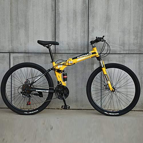 SUMTTER Faltrad Transporttasche Mehrere Farben,Faltbares Fahrrad First Class,klappräder Herren,Faltrad Frauen 24 Zoll leichtes Mini Faltrad Kleines tragbares Fahrrad Erwachsener Student (Gelb)